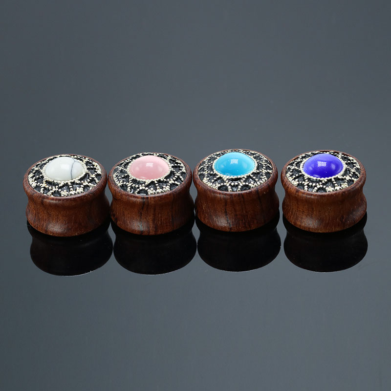 Fahsion Expander Ear Plugs Earrings Jewelry Studs Stretcher Set Rose Wood Taper