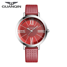 GUANQIN GS496 Bauhaus style New Fashion Women Watches Top Luxury retro fashion red Leather Strap Rectangle Relogio Feminino