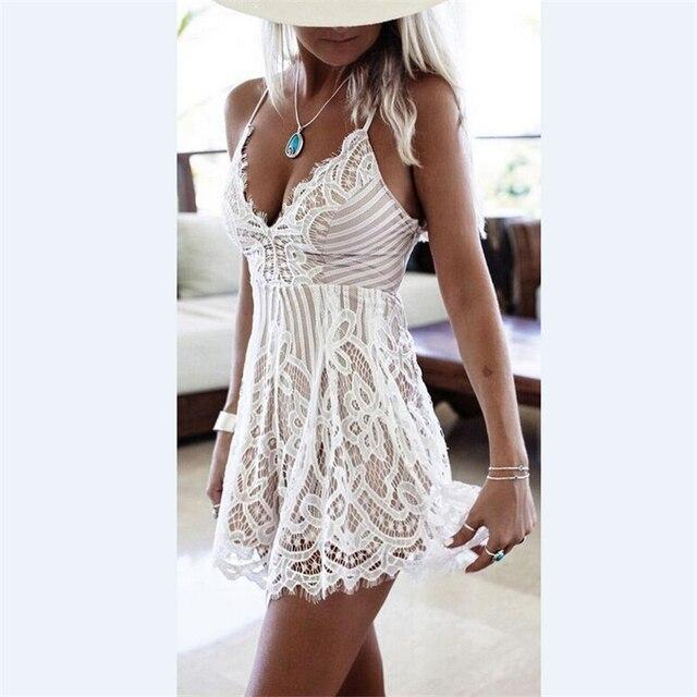 white lace dress sleeveless mini length dress 2