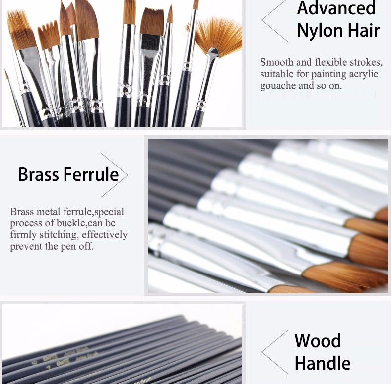 Bianyo 12Pcs Different Shape Nylon Hair Watercolor Paint Brush Set Student Drawing Art Supplies