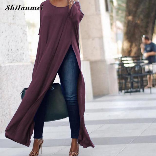0f00e43f8e Ocasional Longa Blusa Vestido de Fenda Lateral 2018 Moda Manga Longa  Senhoras vestido de Outono Um