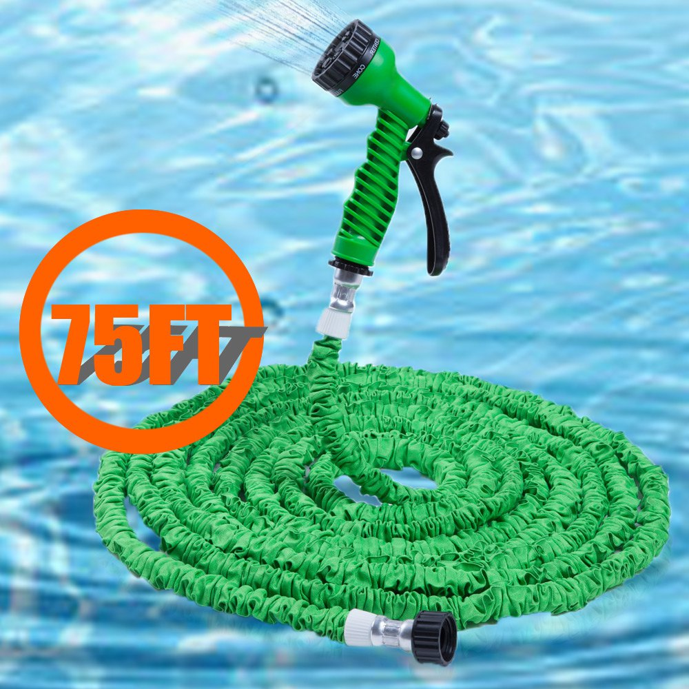 75FT Expandalble Garden Hose Water Pipe with 7 Modes Spray Gun 125ft 7 modes expandable garden water hose pipe with spray gun