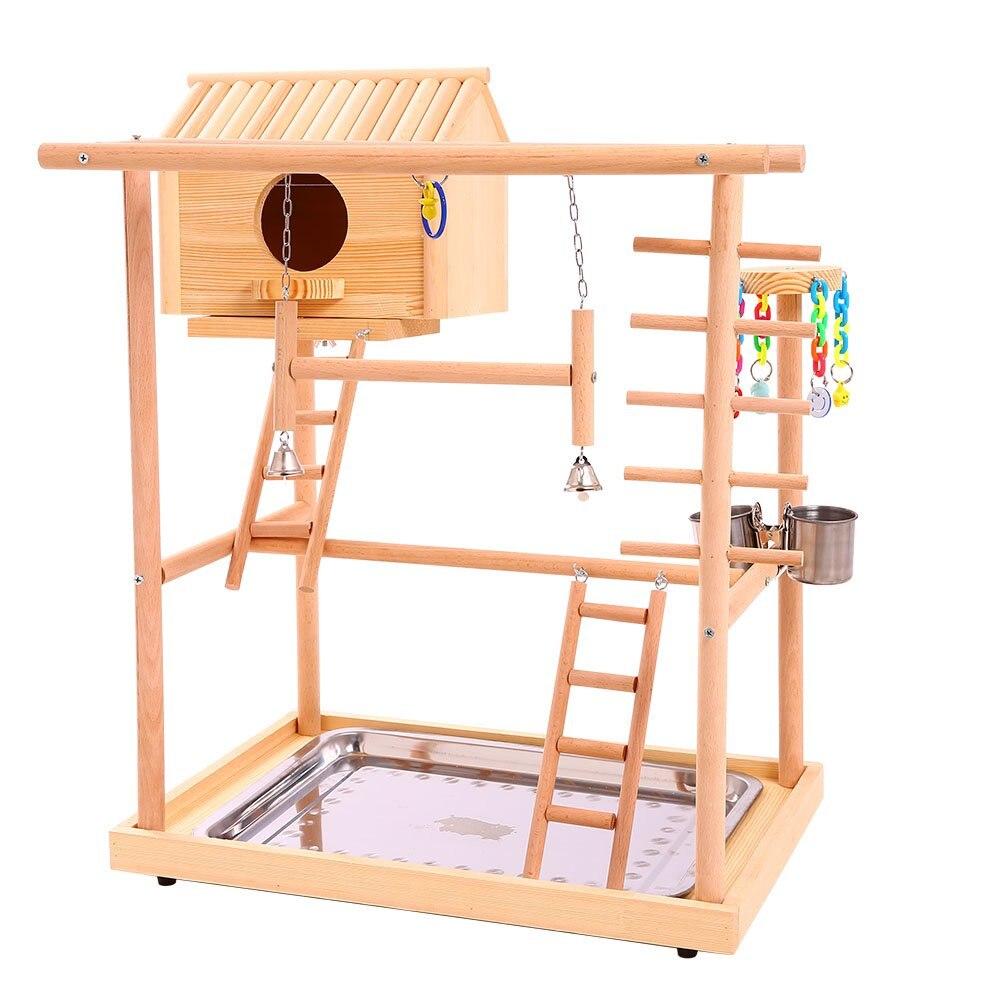 Perchoirs à oiseaux nid Play Stand Gym perroquet aire de jeux Playgym parc parc parc balançoire pont bois escalade échelles en bois Conures