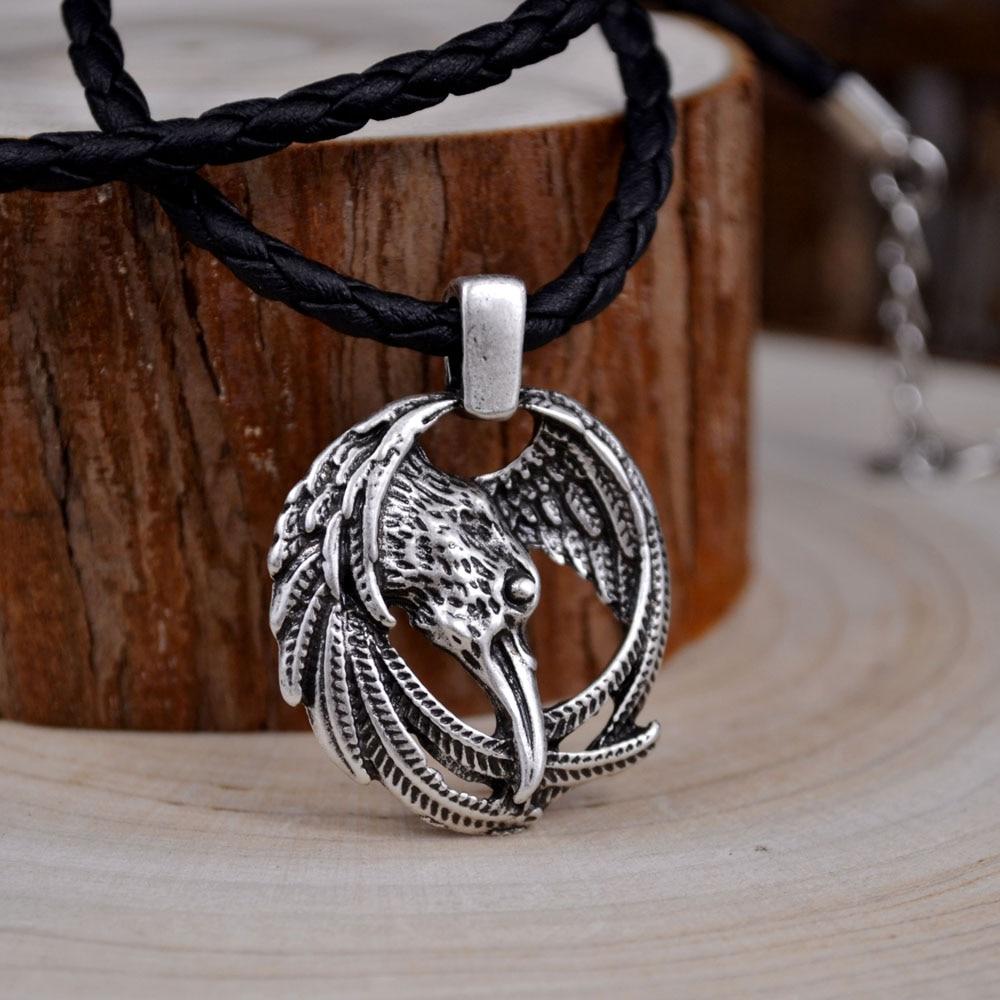 HUIDANG Dropshipping Pánské šperky Kožené řetízky Vintage Norské Vikingové Odin Ravens Přívěsek Náhrdelník Vikingské šperky