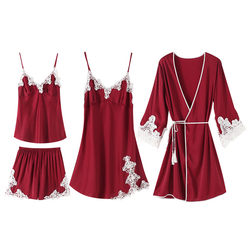 Daeyard   Pajamas   For Women Luxury Appliques 4Pcs Silk   Pajamas     Set   Satin Pyjamas With Shorts Sexy Lace Pjs Sleepwear Home Clothes