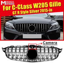 W205 GTS Style ABS Silver Front Grilles Fit For Sports C-Class C180 C200 C250 Sport with Camera Bumper Grille 2015-in