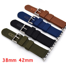 New Style Canvas Blue/Black/Brown/Green Nylon Sport Wrist Apple Watch Strap,For iwatch band 42mm 38mm With Adapter