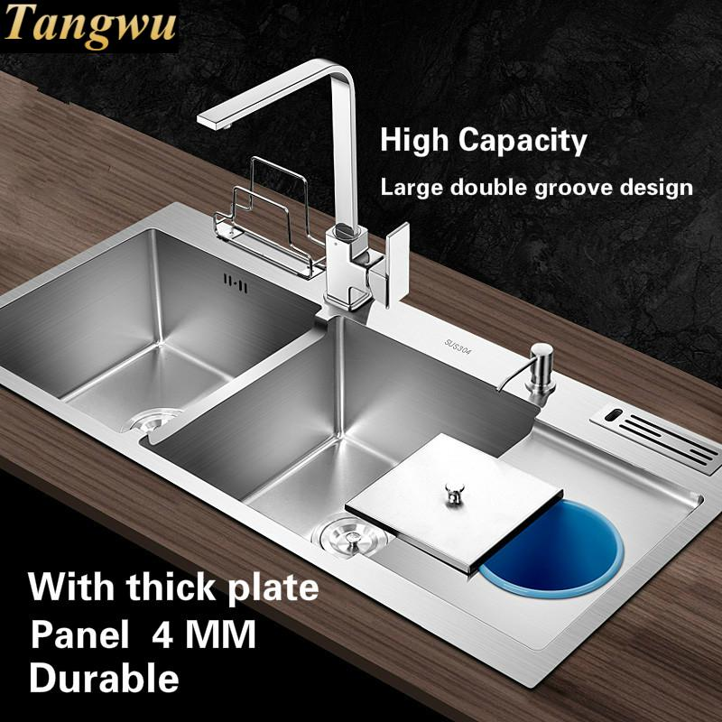 Aliexpress Tangwu High Quality Food Grade 304 Stainless Steel Kitchen Sink Thickness 4 Mm Larger Double Groove 1000x480x220 From Reliable