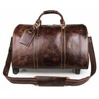 Новый Для мужчин из натуральной кожи дорожная сумка Винтаж из коровьей кожи Чемодан сумка дорожная Duffle Большой Ёмкость тележка Чемодан сум