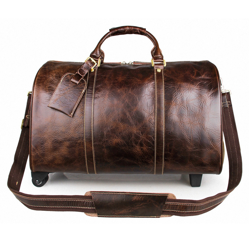 New Men's Genuine Leather Travel Bag Vintage Cow Leather Luggage Bag Handbag Large Capacity Trolley Luggage Bag new playeagle waterpoof pu leather golf boston bag golf clothing bag large capacity travel bag with shoes pocket oem logo