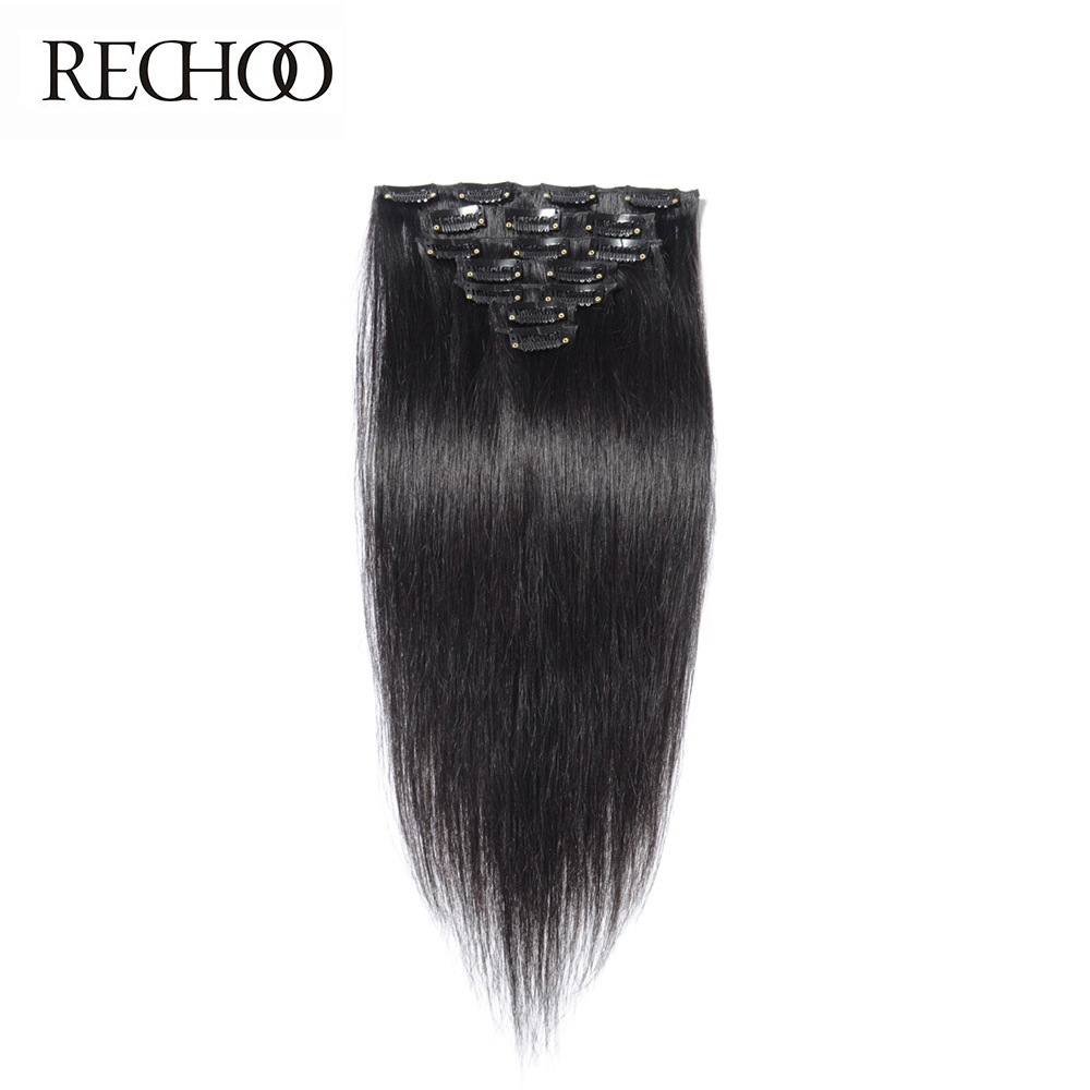 ФОТО Rechoo Non-remy Clip in Human Hair Extension 7Pcs/Set Full Head Peruvian Straight Clip ins 1B Color 140 Gram Free Shipping
