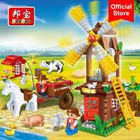 BanBao Windmühle Haus Bauernhof Landschaft Tier Steine Pädagogisches Bausteine Modell Spielzeug Kinder Kinder Kompatibel Mit Marken