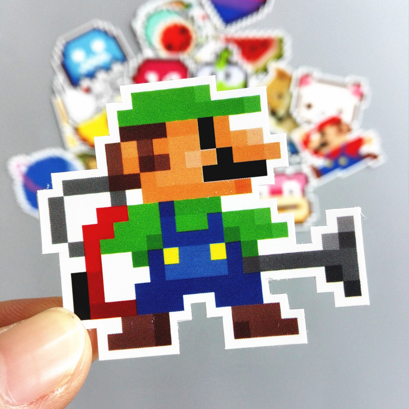 25Pcs/lot Cartoon Mario Pixel Style Sticker For Car Laptop Luggage Skateboard Backpack Tables Case Decal Kids Toy Stickers