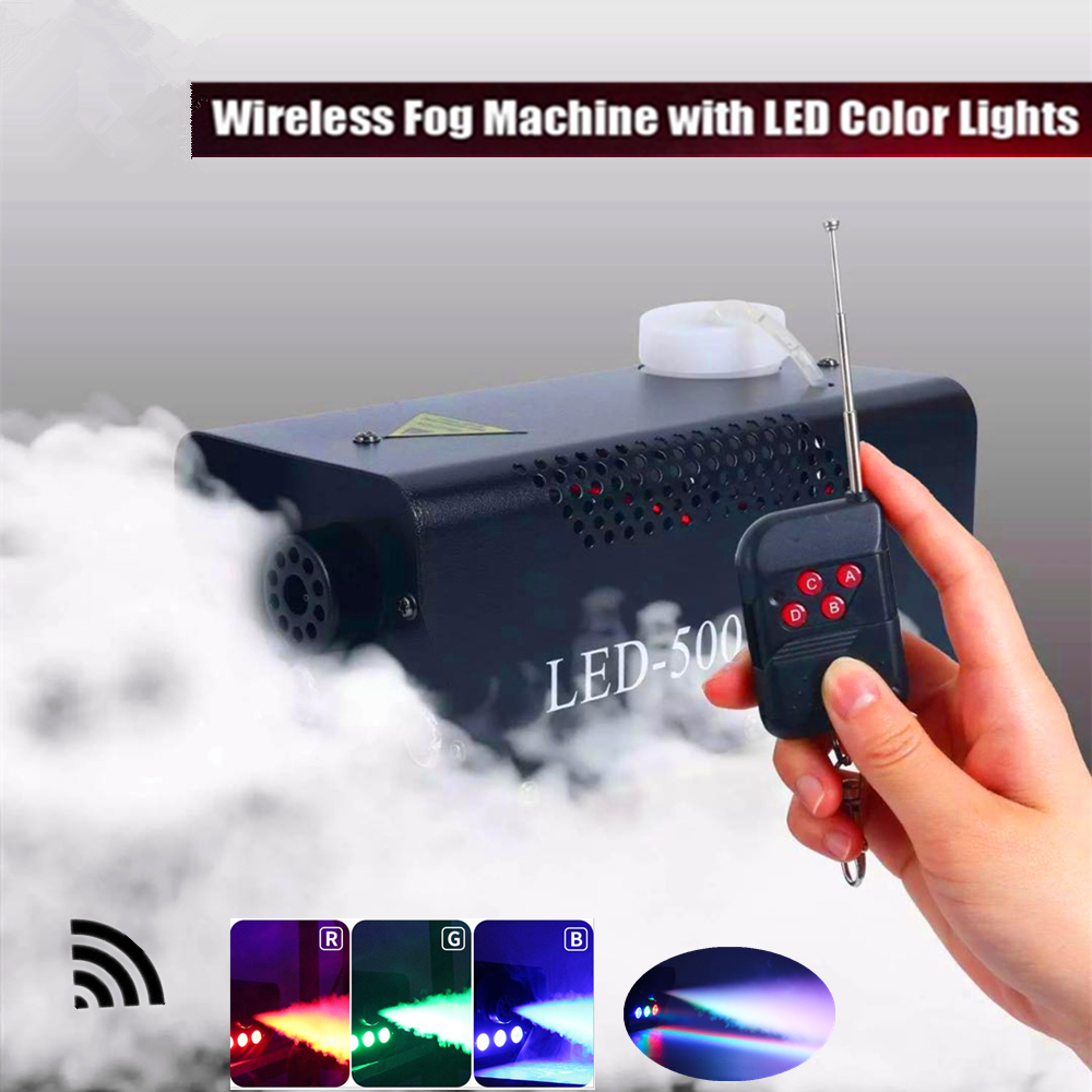Mini 500W LED Smoke Machine /Wireless Remote Control Fog Machine With RGB LED Lights/Stage Smoke Ejector /DJ Disco LED Fogger