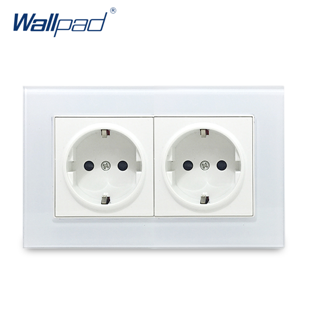 Hot Sales Double EU Socket Wallpad Crystal Glass Panel 110V-250V 10A-16A EU Double EU Wall Electrical Power Socket 146*86mm Size