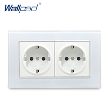 Hot Sales Double EU Socket Wallpad Crystal Glass Panel 110V-250V 10A-16A EU Double EU Wall Electrical Power Socket 146*86mm Size tomshine eu