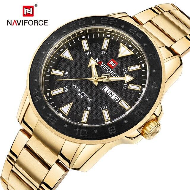 fa15286b91b Homens Relógio NAVIFORCE Data Semana Esporte Mens Relógios Top Marca de  Luxo Militar Do Exército de