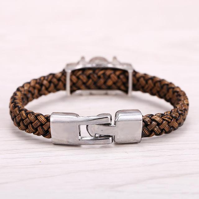 One Piece Silver Alloy Bracelets Leather Woven Punk Bangle