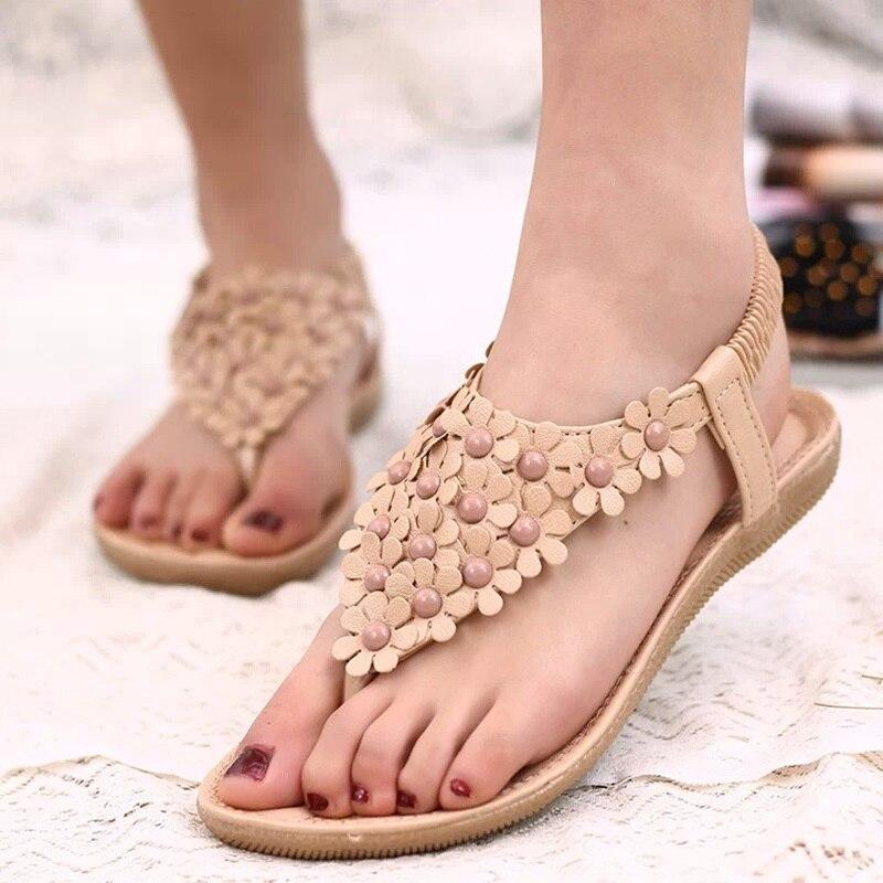 LAKESHI Ladies Sandals Fashion Flip Flops Women Sandals Summer Women Shoes Flat Sandals With Flowers Bohemian Shoes Female girl shoes in sri lanka