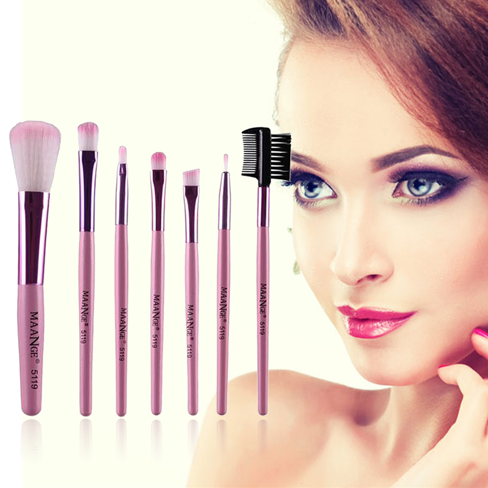 7pcs/kits Professional Nylon Makeup Brushes Set Cosmetics Foundation Brush Tools For Face Powder Eye Shadow Eyeliner Lip stylish 7 pcs nylon makeup brushes set with brush bag 2 pcs foundation brush powder puffs