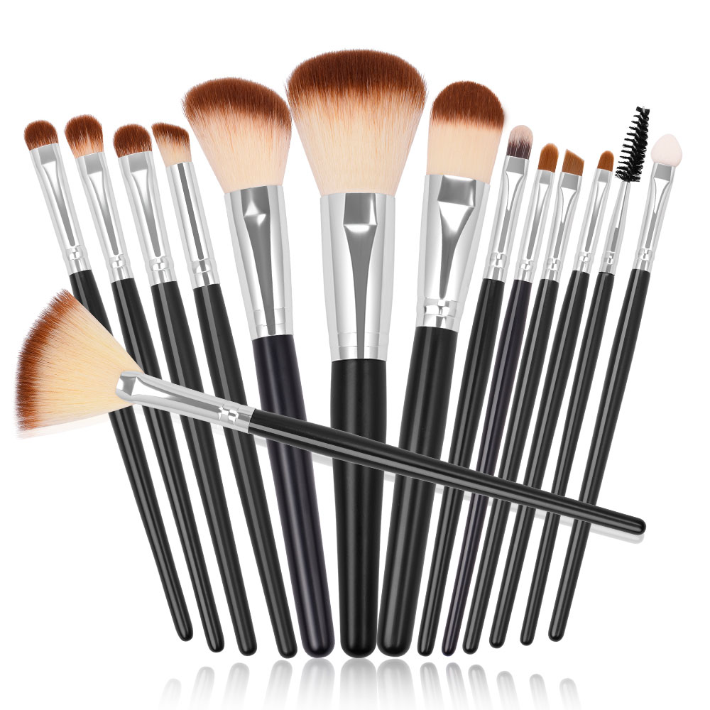 Professional Makeup Brush Set 15pcs Soft Vegan Synthetic Brushes Kit for Powder Foundation Blush Eyeshadow Liner Brow Lip Gloss in Eye Shadow Applicator from Beauty Health