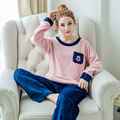 2017 Spring Winter Anti Cold Keep Warm Women Coral Fleece Pajamas Sets of Sleepcoat & Trousers Lady Thermal Flannel Sleepwear