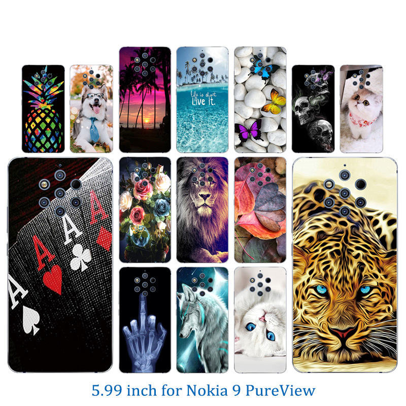 5.99inch for Nokia 9 PureView Fashion Clear TPU Cover For Nokia 9 PureView Full Protection Marb Phone Case for Nokia 9P Capa