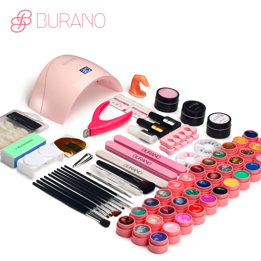 Burano UV LED Lamp & 36 Color UV Gel Nail polish Art Tools polish nail Set Kit building gel manicure set of tools new set009 focallure nail art tools polish set uv kit nail gel nail tools led dryer lamp kit manicure acrylic nail kit