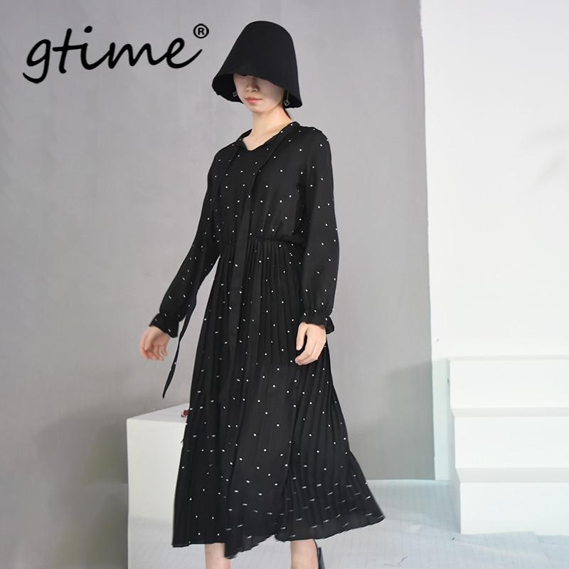 Gtime New Spring  Round Neck Long Sleeve Solid Black Chiffon Dot Loose Big Size Dress Women Fashion Tide YJH040
