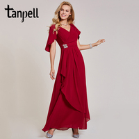 Tanpell V Neck Evening Dress Chiffon White Short Sleeves Floor Length Dress Cheap A Line Beading