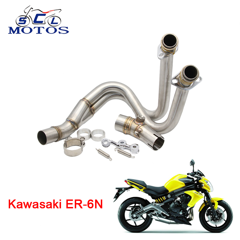 Sclmotos -Motorcycle Motorbike Stainless Steel Header Exhaust Mid Pipe for Kawasaki ER-6N ER-6F ER6F ER6N Ninja 650R 2012-2015 цены