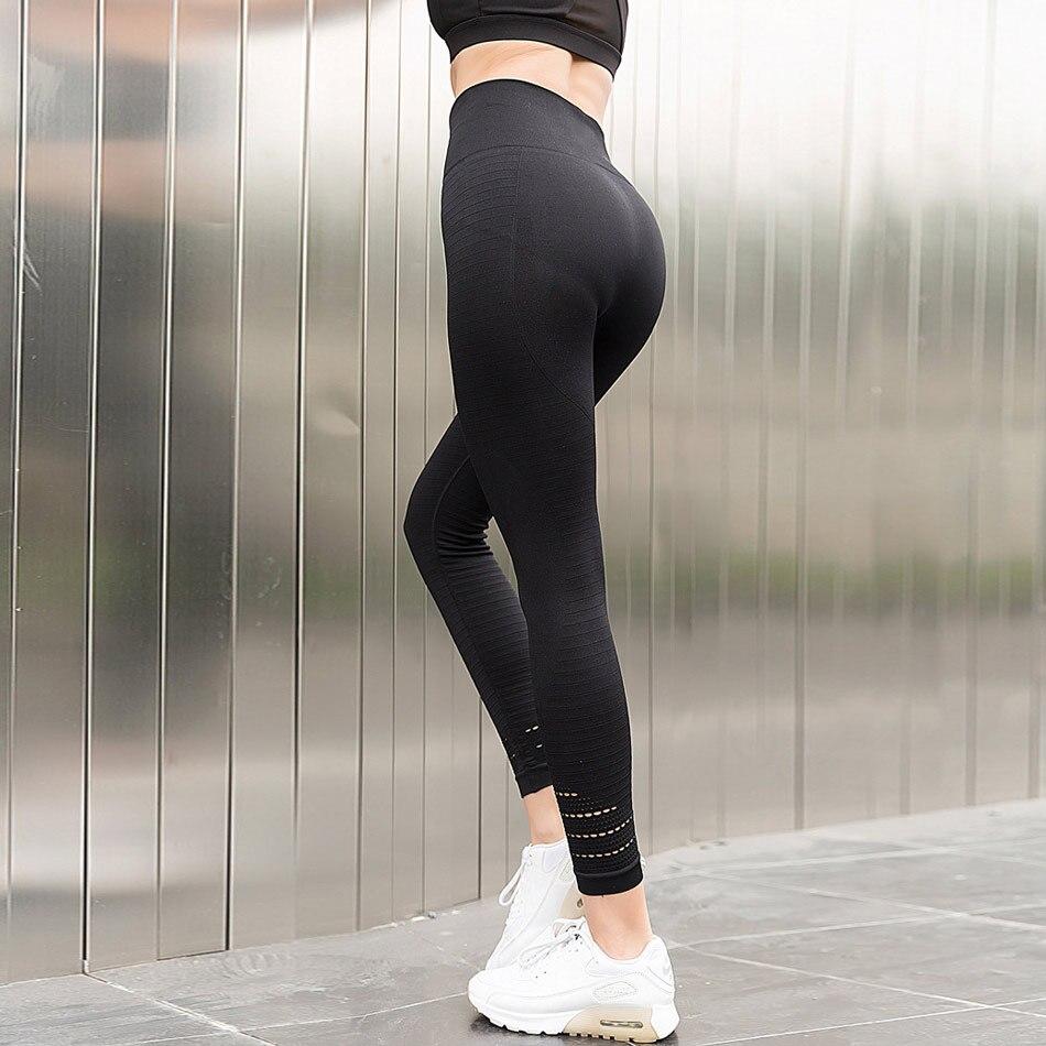 women high waist sport leggings hollow out yoga pants big booty push