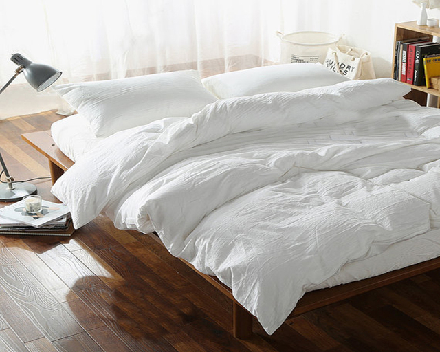 100 White Pure Washed Linen Duvet Cover French Natural Bed Covers Flax