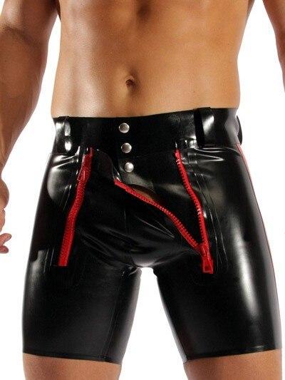 Sexy Men Wild PVC Faux Leather Panties Zipper Open Short Boxer Wetlook Clubwear Jockstrap Fetish Gay Wear Erotic lingerie FX1029