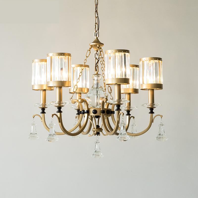 American crystal lamp living room wrought iron light villa Led Gold Crystal Chandelier lighting luxury Chandeliers led Lustre