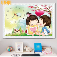 UzeQu Wall Clock Diamond Painting Cross Stitch Cartoon Chirldren Lovers Diamond Rhinestone Watch Full Round Drill