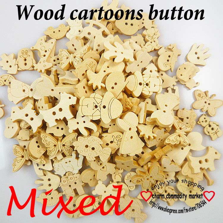 100pcs MIXED WOODEN CARTOONS BUTTONS cat CLOTHING ACCESSORY CHARMS JEWELRY Train button WCB-073