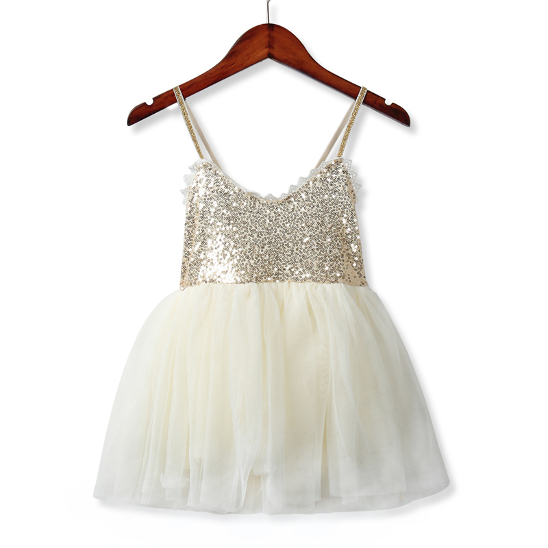 Girls Dresses 2018 Summer Sweet Princess Dress Baby Kids Children Clothing Wedding Party Dresses Sequins White Beige Costume 2017 new girls dresses for party and wedding baby girl princess dress costume vestido children clothing black white 2t 3t 4t 5t
