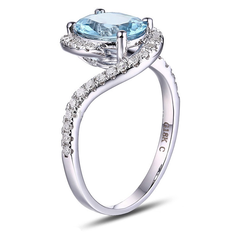 Caimao 1.71ct Natural Blue Aquamarine 14k White Gold Natural Diamond Engagement Ring Jewelry браслеты kameo bis браслеты