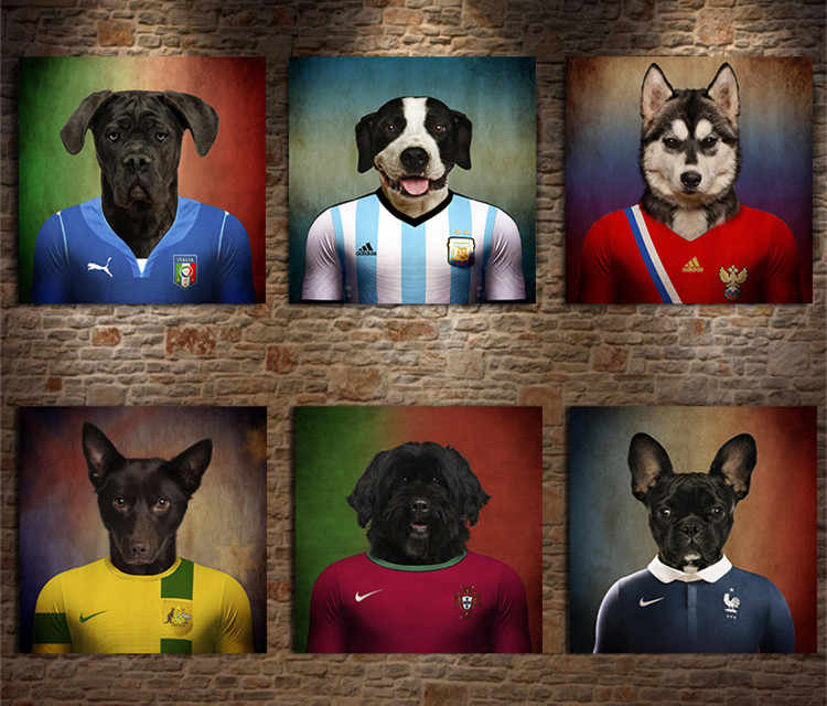 Pet Dog Football Star Poster Print  Modern Nordic Cartoon Nursery Wall Art Picture Kids Baby Room Decor Canvas Painting No Frame
