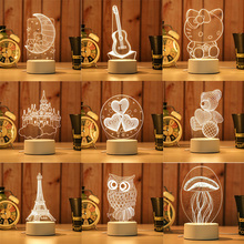 Luminaria Gifts Decor Novelty USB Light Touch Switch Led 3D Night Lights Animal Bear Pianl Creative Ambient Table Lamp Lights sale novelty buddha usb 3d night light atmosphere led bulbs luminaria nights lamp christmas birthday gifts table rgb lamparas