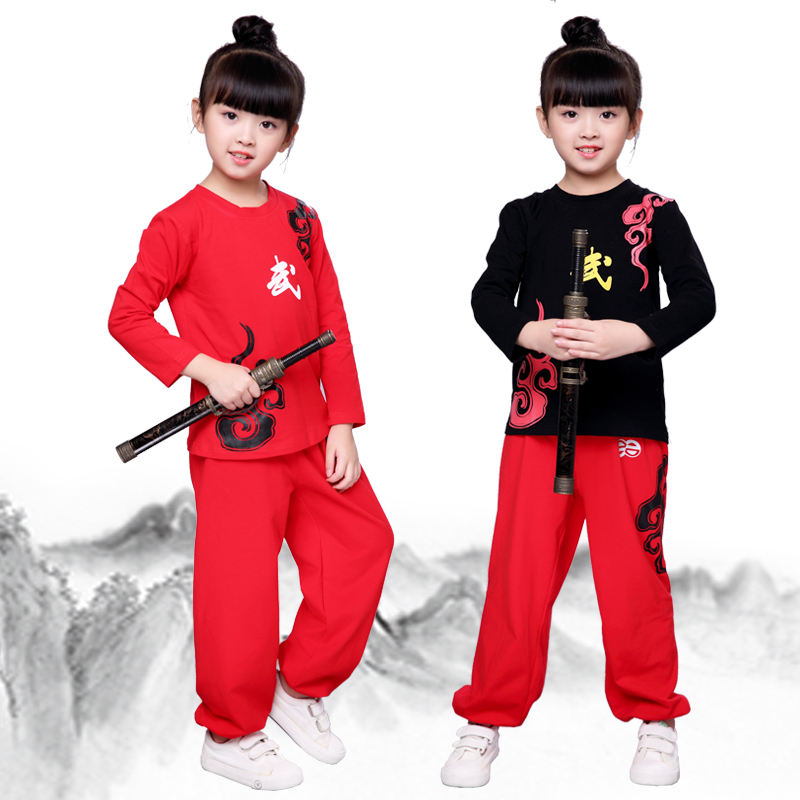 KTLPARY Children Tae Kwon Do Kids Wushu Boy Chinese Traditional Clothing China black red Kungfu Suit Uniforms For Girl Costumes