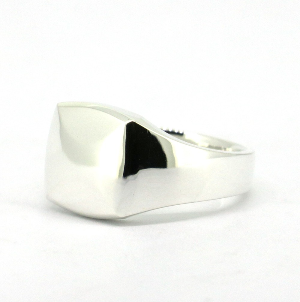 Wellmade Solid Sterling Silver Square Ring, Silver Signet Ring