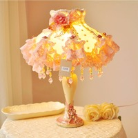 Korean garden style master bedroom dresser bedside lamp may Ailei Si floral fabric gift new wedding room decoratio