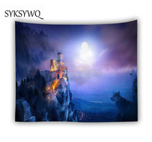 Hot Sale Wolf Forest Tapestry Wall Hanging Dorm Room Drcor Starry Star Moon 3d Castle Carpet