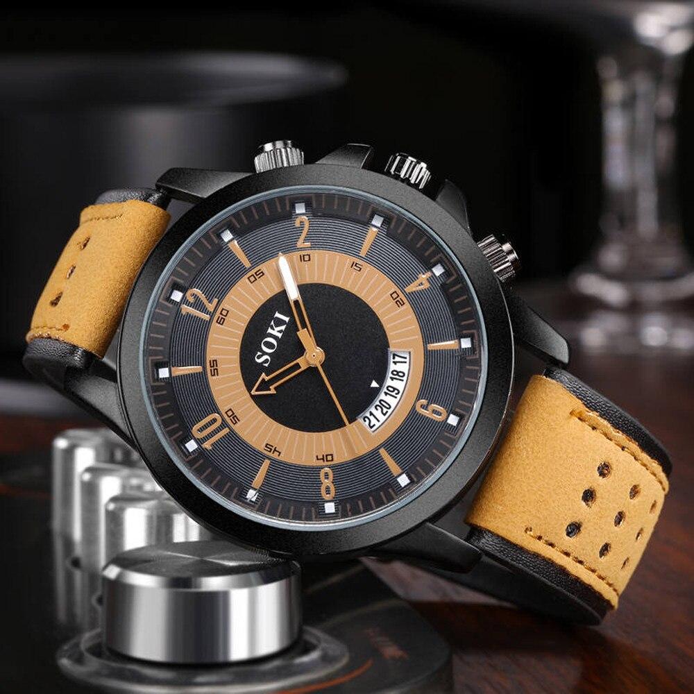 SOKI Men Watch Luxury Fashion Silica Gel Leather Quartz Analog watches men wrist watches day date relogios masculino analog watch