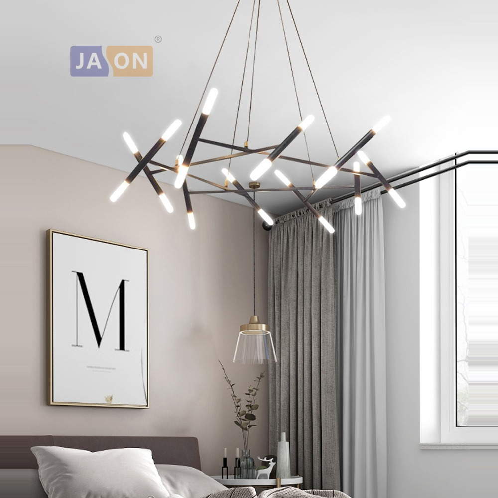 Led Design Lampen Us 332 5 30 Off G4 Led Postmodern Iron Acryl Black Gold Chandelier Lighting Lamparas De Techo Suspension Luminaire Lampen For Dinning Room In