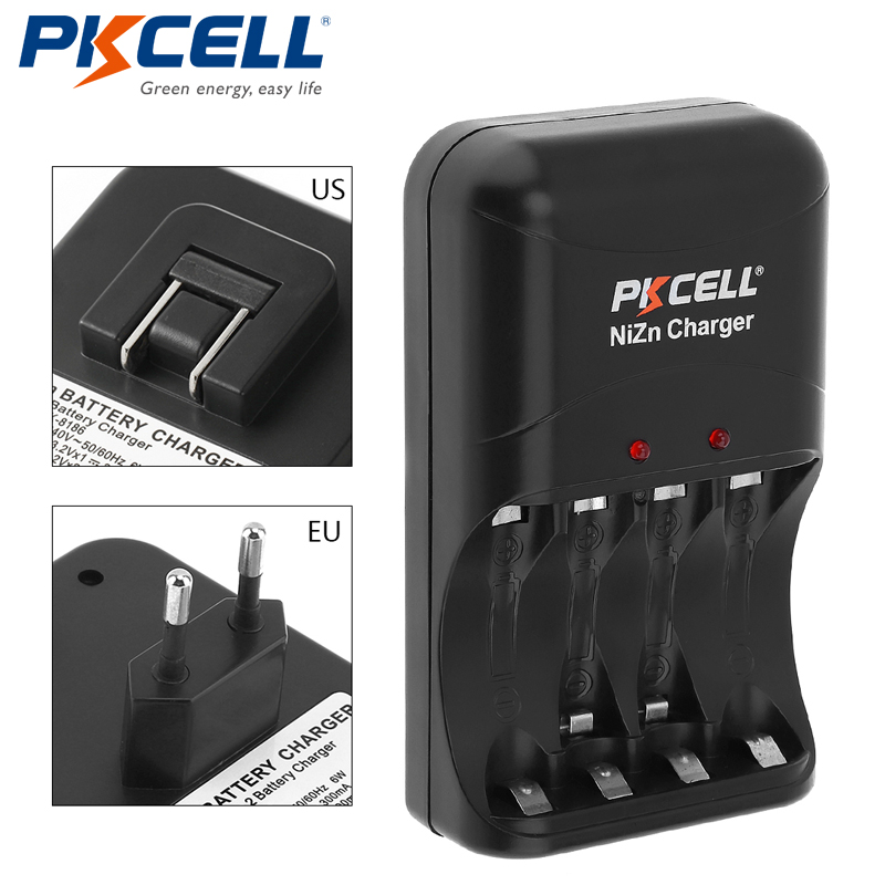 1pcs Original low price PKCELL Ni Zn AA/AAA Battery Charger EU  Plug four Charger for Ni Zn AA/AAA Rechargeable Batteries-in Rechargeable Batteries from Consumer Electronics