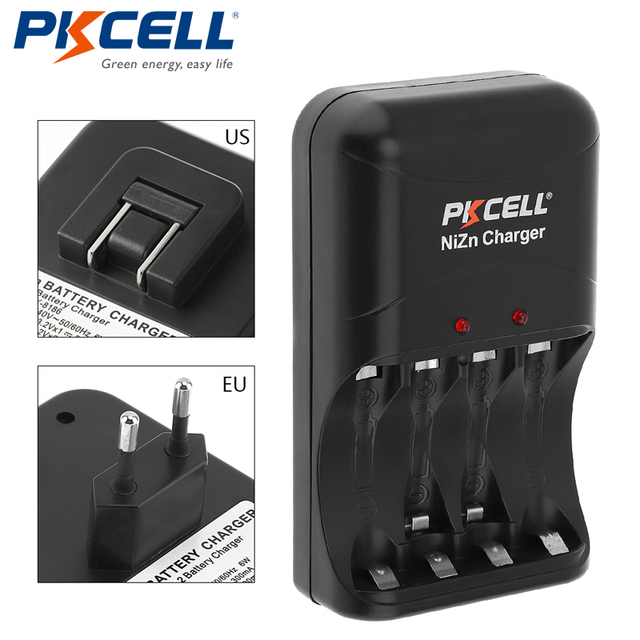 1pcs Original low price PKCELL Ni Zn AA/AAA Battery Charger EU  Plug four Charger for Ni Zn AA/AAA Rechargeable Batteries
