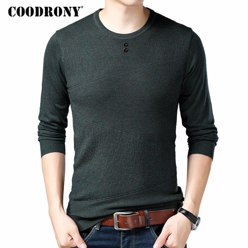 COODRONY Brand Sweater Men Autumn Winter Woolen Sweaters Knitwear Pull Homme Streetwear Casual Button O-Neck Pullover Men 91048